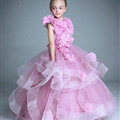 Cute Dresses Winter Flower Girls Sleeveless Embroidery Wedding Party Dress - Pink