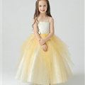 Cute Dresses Winter Flower Girls Sling Bowknot Wedding Party Dress - Yellow