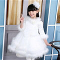 Cute Dresses Winter Flower Girls Velvlet Knee Length Bowknot Wedding Party Dress - White
