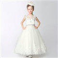Cute Skirts Winter Flower Girls Long Diamond Wedding Party Dress - White