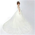 Cute Skirts Winter Flower Girls Long Drag Diamond Wedding Party Dress - White
