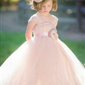Cute Skirts Winter Flower Girls Long Suspenders Wedding Party Dress - Pink