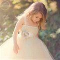 Cute Skirts Winter Flower Girls Long Suspenders Wedding Party Dress - White