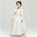 Cute Skirts Winter Flower Girls Shawl Bowknot Wedding Party Dress - White