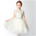 Cute Skirts Winter Flower Girls Short Diamond Wedding Party Dress - White