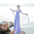 Dresses Summer Backless Women Tunic Elbow Sleeve Solid Beach Long Chiffon - Purple
