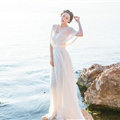 Dresses Summer Backless Women Tunic Elbow Sleeve Solid Beach Long Chiffon - White