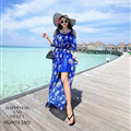 Dresses Summer Girls Fifth Sleeved Split Printed Beach Long Bohemian - Royal Blue