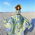 Dresses Summer Girls Short Sleeved Tunic Printed Beach Long Bohemian - Blue Green
