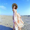 Dresses Summer Girls Short Sleeved Tunic Printed Beach Long Bohemian - Pink