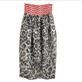 Dresses Summer Women Backless Leopard Print Short Chiffon Fringe - Red