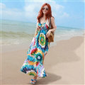 Dresses Summer Women Bohemian Printed Beach Long Chiffon Sundresses - Blue