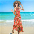 Dresses Summer Women Bohemian Printed Beach Long Chiffon Sundresses - Red