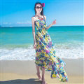 Dresses Summer Women Bohemian Printed Beach Long Chiffon Sundresses - Yellow