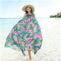 Dresses Summer Women Large Pendulum Printed Beach Long Chiffon Bohemian - Green Pink