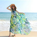 Dresses Summer Women Large Pendulum Printed Beach Long Chiffon Bohemian - Green