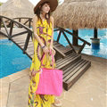 Dresses Summer Women Large Pendulum Printed Beach Long Chiffon Bohemian - Yellow