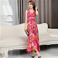 Dresses Summer Women Large Pendulum Printed Beach Long Tunic Bohemian - Red