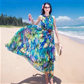 Dresses Summer Women Tunic Large Pendulum Printed Beach Long Tunic Bohemian - Blue