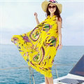 Dresses Summer Women Tunic Large Pendulum Printed Beach Long Tunic Bohemian - Yellow