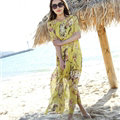 Elegant Dresses Summer Female Printed Beach Bohemian Long Chiffon - Yellow