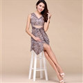 Elegant Dresses Summer Female Skirts Leopard Print Knee Length Plus Size - Pink