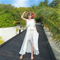 Elegant Dresses Summer Girls Swallowtail Beach Long Chiffon Bohemian - White