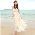 Elegant Dresses Summer Women Coast Solid Beach Long Chiffon - Beige