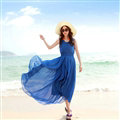 Elegant Dresses Summer Women Coast Solid Beach Long Chiffon - Blue