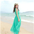 Elegant Dresses Summer Women Coast Solid Beach Long Chiffon - Green