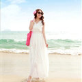 Elegant Dresses Summer Women Coast Solid Beach Long Chiffon - White