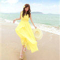 Elegant Dresses Summer Women Coast Solid Beach Long Chiffon - Yellow
