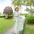 Elegant Dresses Summer Women Floral Strapless Beach Bohemian Long Chiffon - Blue