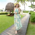 Elegant Dresses Summer Women Floral Strapless Beach Bohemian Long Chiffon - Green