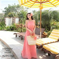 Elegant Dresses Summer Women Floral Strapless Beach Bohemian Long Chiffon - Pink