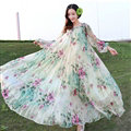 Elegant Dresses Summer Women Long Sleeved Printed Beach Long Chiffon Bohemian - Beige