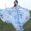 Elegant Dresses Summer Women Long Sleeved Printed Beach Long Chiffon Bohemian - Blue