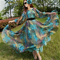Elegant Dresses Summer Women Long Sleeved Printed Beach Long Chiffon Bohemian - Dark Blue