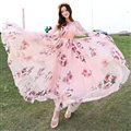 Elegant Dresses Summer Women Long Sleeved Printed Beach Long Chiffon Bohemian - Pink