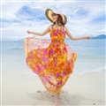 Elegant Dresses Summer Women Printed Strapless Beach Bohemian Long Chiffon - Orange