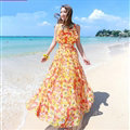 Elegant Dresses Summer Women Printed Strapless Beach Bohemian Long Chiffon - Yellow Red