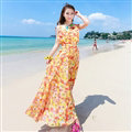 Elegant Dresses Summer Women Printed Strapless Beach Bohemian Long Chiffon - Yellow
