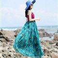 Elegant Dresses Summer Women Sundresses Peacock Beach Long Chiffon Bohemian - Blue