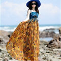 Elegant Dresses Summer Women Sundresses Peacock Beach Long Chiffon Bohemian - Orange