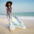Elegant Dresses Summer Women Sundresses Printed Beach Long Chiffon Bohemian - Blue