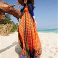 Elegant Dresses Summer Women Sundresses Printed Beach Long Chiffon Bohemian - Orange