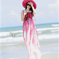 Elegant Dresses Summer Women Sundresses Printed Beach Long Chiffon Bohemian - Red