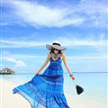 Elegant Dresses Summer Women Sundresses RhombicBeach Long Chiffon Bohemian - Blue
