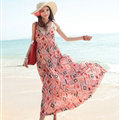 Elegant Dresses Summer Women Sundresses RhombicBeach Long Chiffon Bohemian - Red