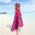Elegant Dresses Summer Women Sundresses RhombicBeach Long Chiffon Bohemian - Rose